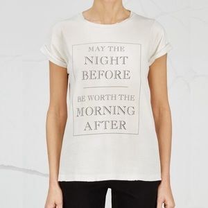 Wildfox May The Night Before T Shirt Cream Small